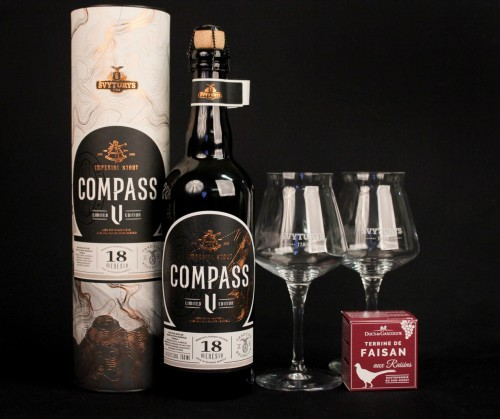 Rinkinys Švyturio COMPASS V ir 2 taurės su užkandžiu